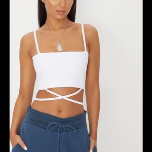 PrettyLittleThing White Crisscrossed Crop Top